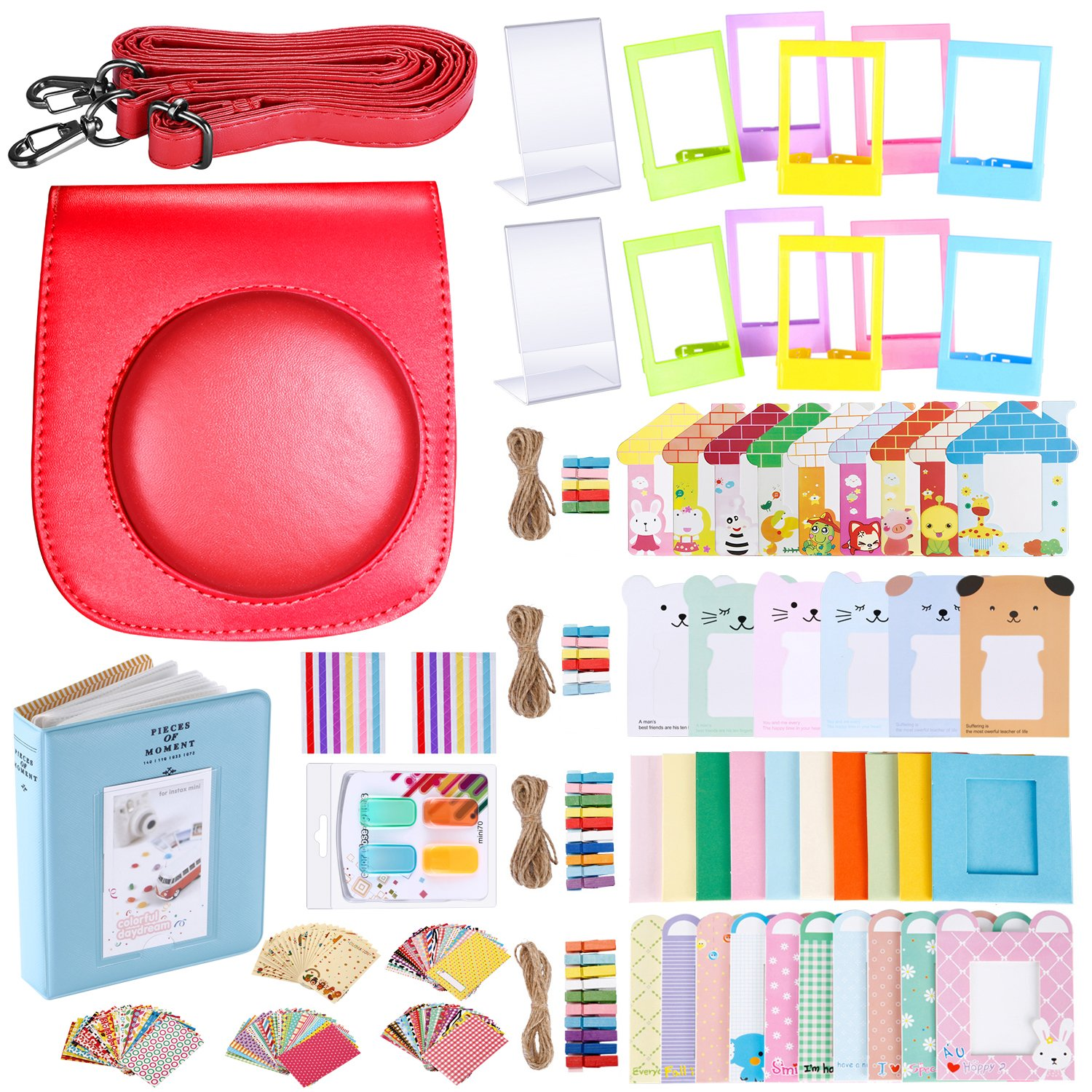 Neewer 56-in-1 Accessory Kit for Fujifilm Instax Mini 70 (Red),Includes: Camera Case with Adjustable Strap, Various Frames, Book Album, Color Filters, Corner Stickers, Photo Instant Film Stickers 10089477