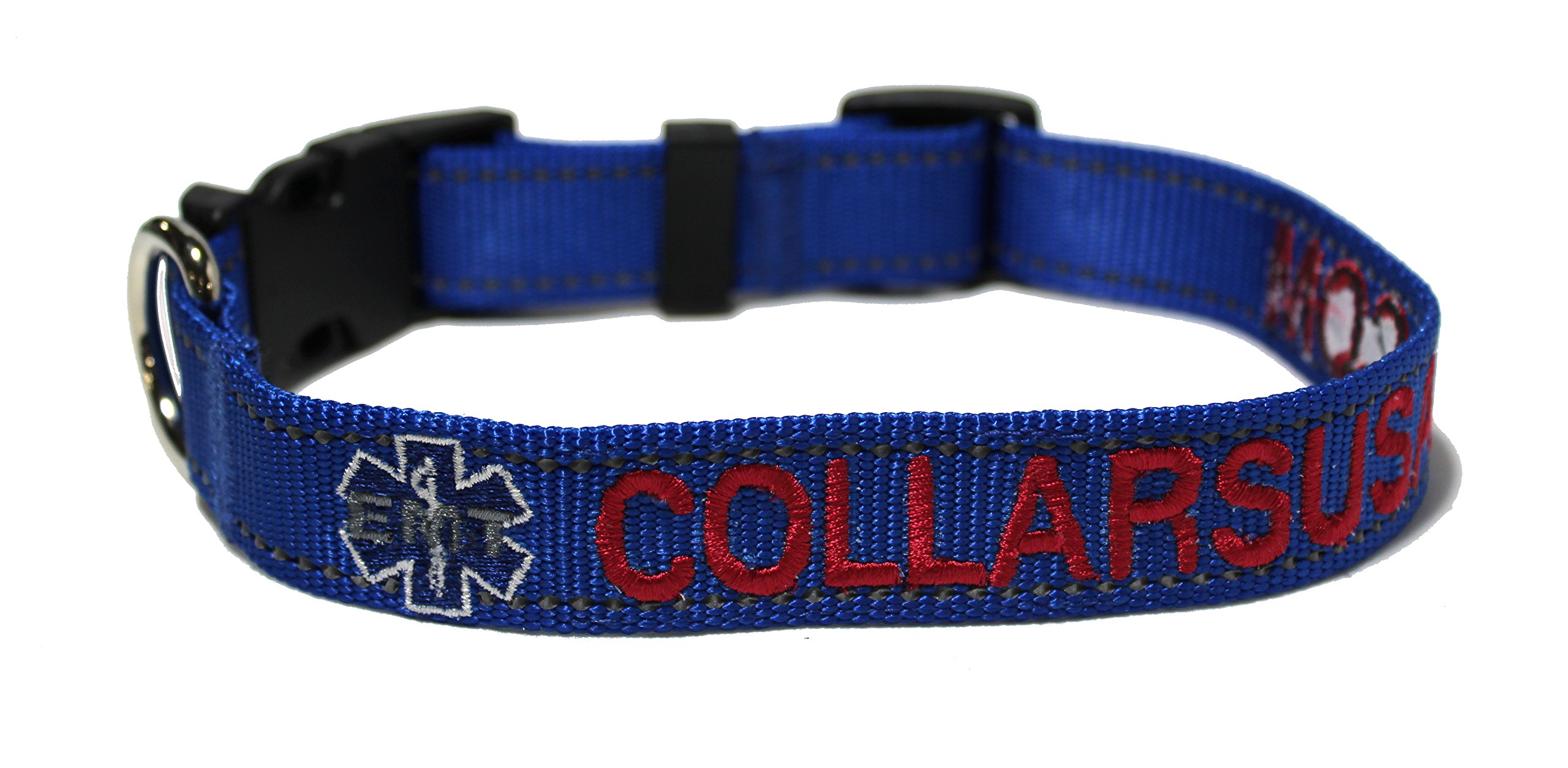 Northern Safari Custom Personalized Embroidered CAMO & Solid Webbing Dog Collars with 1 Logo, Royal Blue with Reflective Lines, Large,Metal Hardware