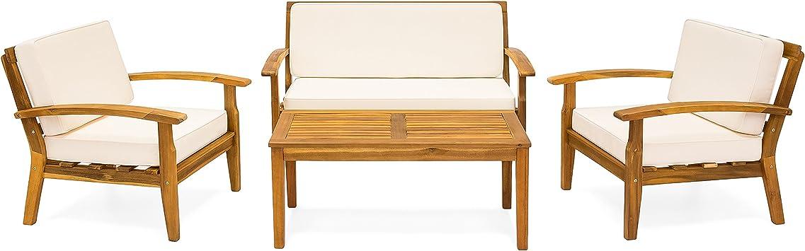 Amazon.com: Juego de 4 sofás de madera.: Jardín y Exteriores