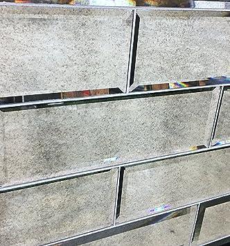Amazon Com 4 X 12 Wide Beveled Subway Antique Mirror Tile