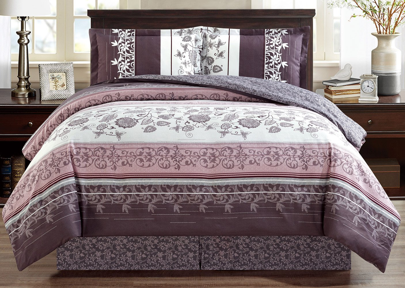 Grand Linen 4-Piece Fine Printed Oversize Comforter Set Reversible Goose Down Alternative Bedding King Size-Purple. Grey, Black, White, Floral