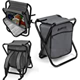 Folding Cooler and Stool Backpack - Multifunction Collapsible Camping Seat and Insulated Ice Bag with Padded Shoulder Straps - by GigaTent