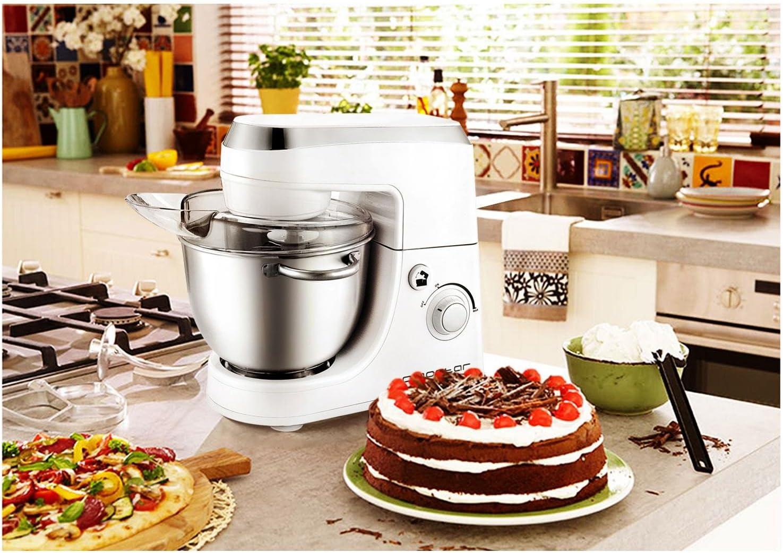 Aigostar Piccolo Mamma White 30HMA–Robot de cocina: batidora, amasadora, mezcladora. 350W, bol de acero inoxidable y 4,2 litros. Incluye 3 accesorios para amasado, batido y mezclado. Diseño exclusivo.: Amazon.es: Hogar