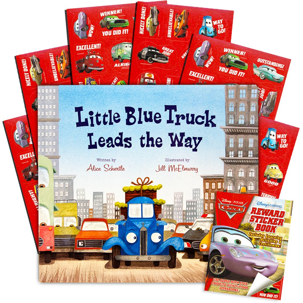 Little Blue Truck Board Book Set Baby Toddler -- Deluxe Lap Book with Sticker Pack (''Little Blue Truck Leads The Way'')