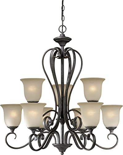 Vaxcel RV-CHU009 Riviera 9 Light Chandelier Finish Vintage Patina