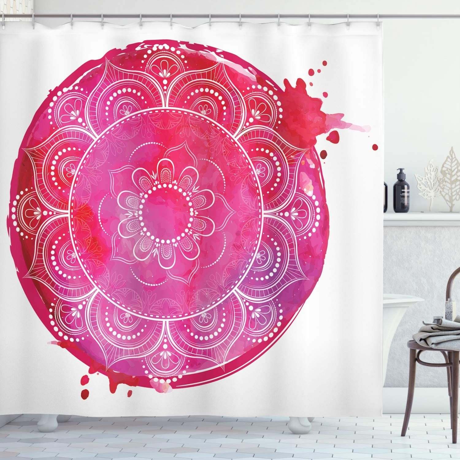 "Ambesonne Yoga Shower Curtain, Pink Watercolor Round with an Mandala Art Motif Paint Drop Like Illustration, Cloth Fabric Bathroom Decor Set with Hooks, 75"" Long, Magenta White"