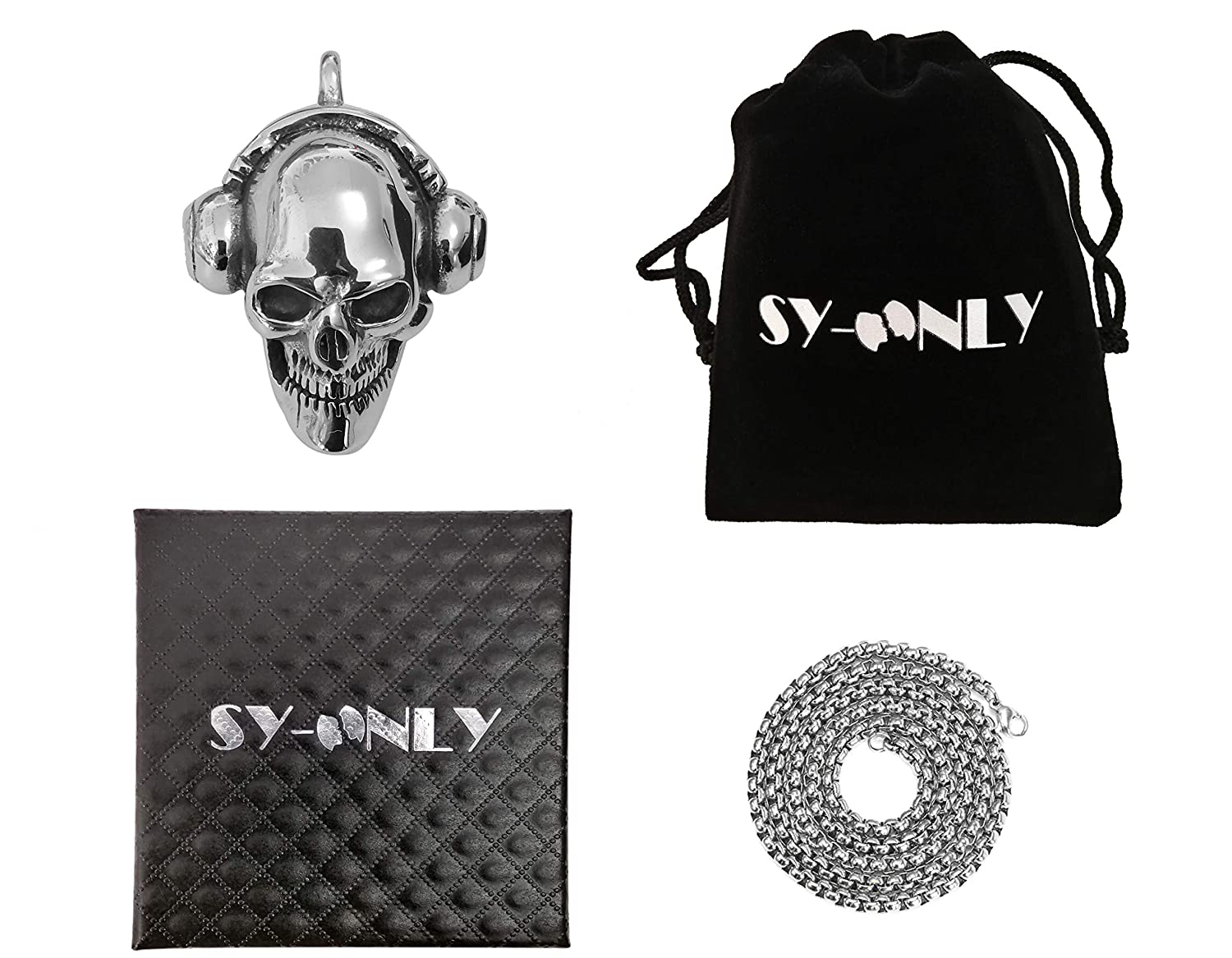 SY-Only Stainless Steel Skull Necklace Punk Rock or Hip hop,24 inches Polished Chain Rock Necklace for Men