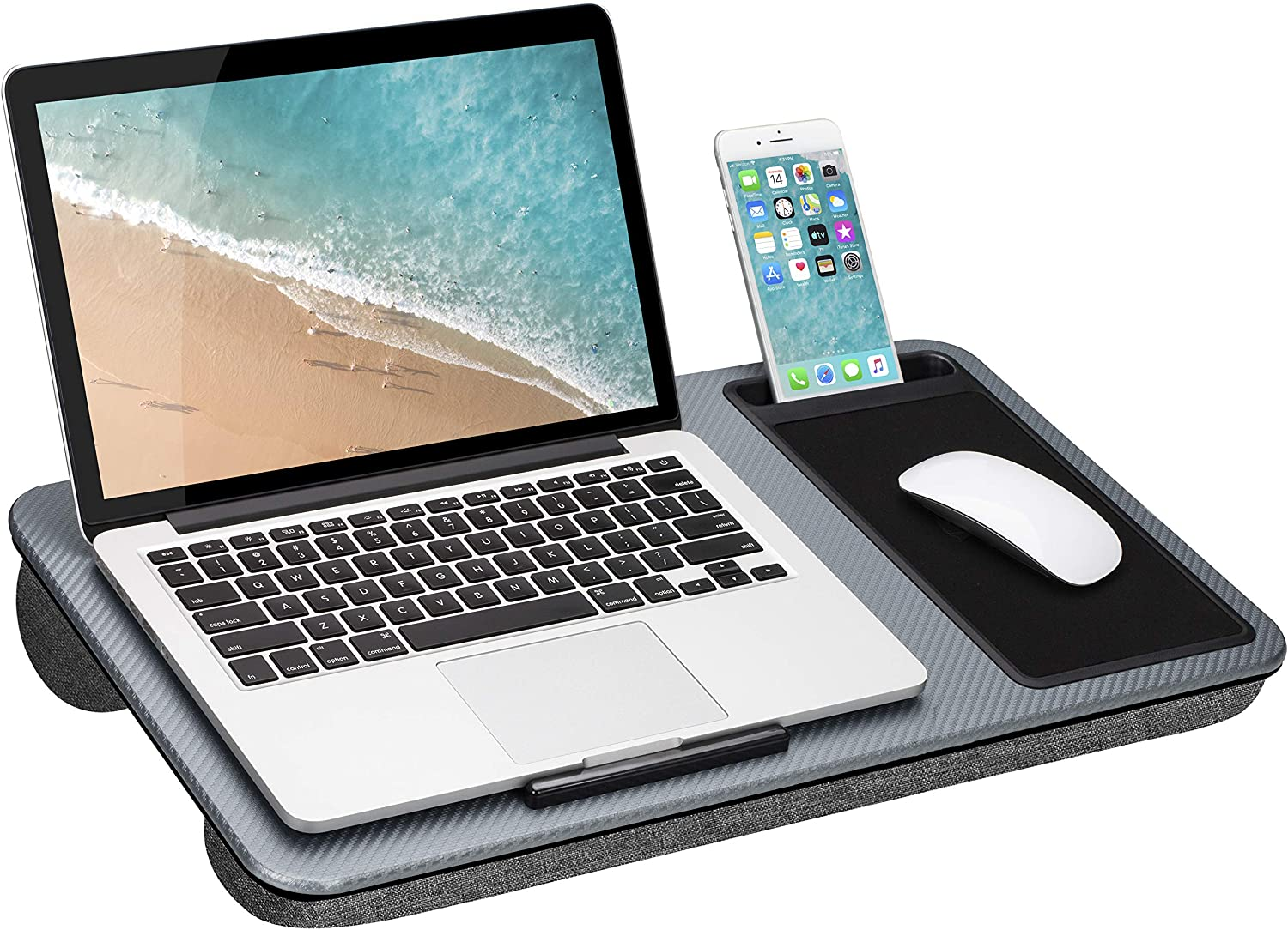 LapGear Home Office Lap Desk with Device Ledge, Mouse Pad, and Phone Holder - Silver Carbon - Fits Up to 15.6 Inch Laptops - Style No. 91585 : Office Products