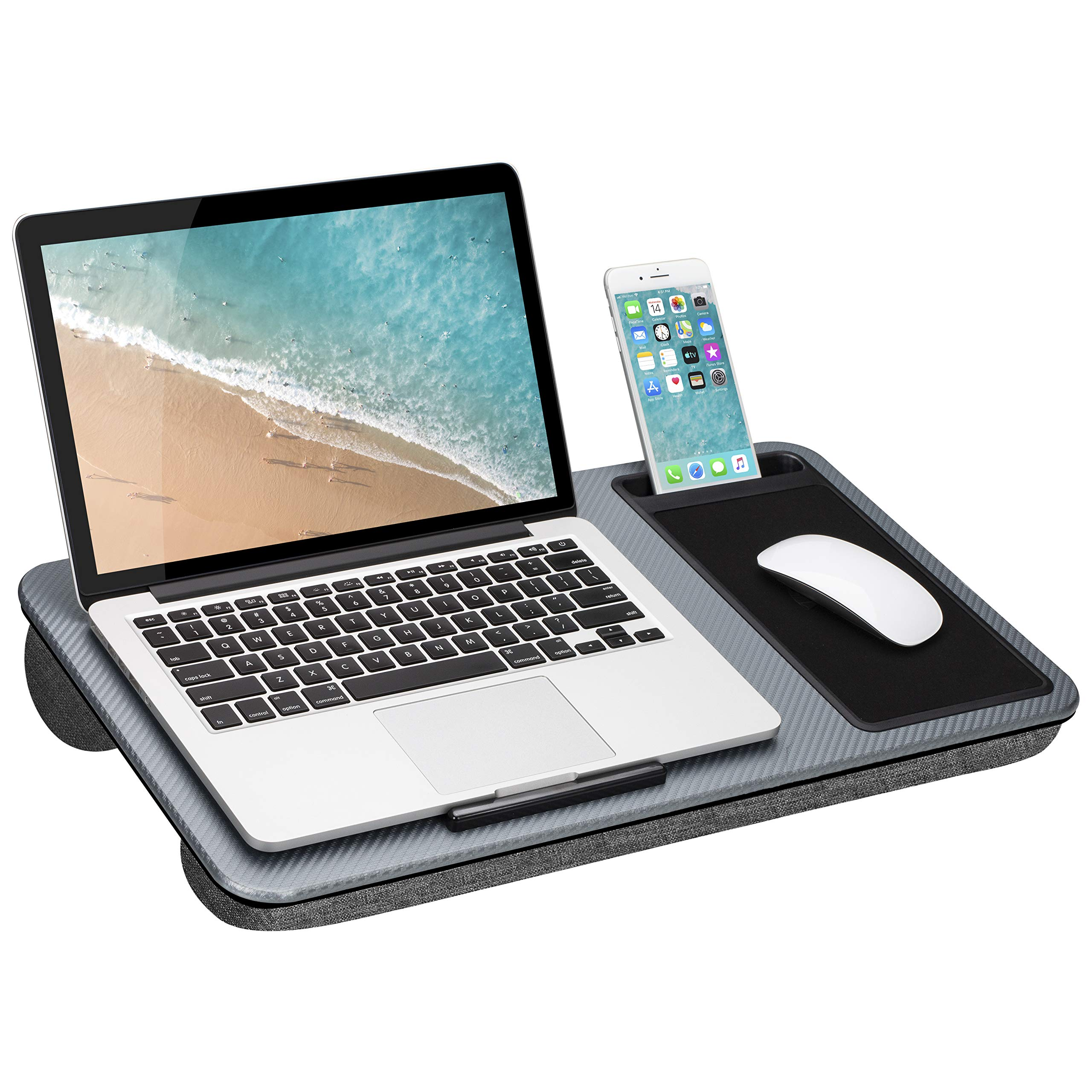 LapGear Home Office Lap Desk with Device Ledge, Mouse Pad, and Phone Holder - Silver Carbon - Fits up to 15.6 Inch Laptops - Style No. 91585 by LapGear