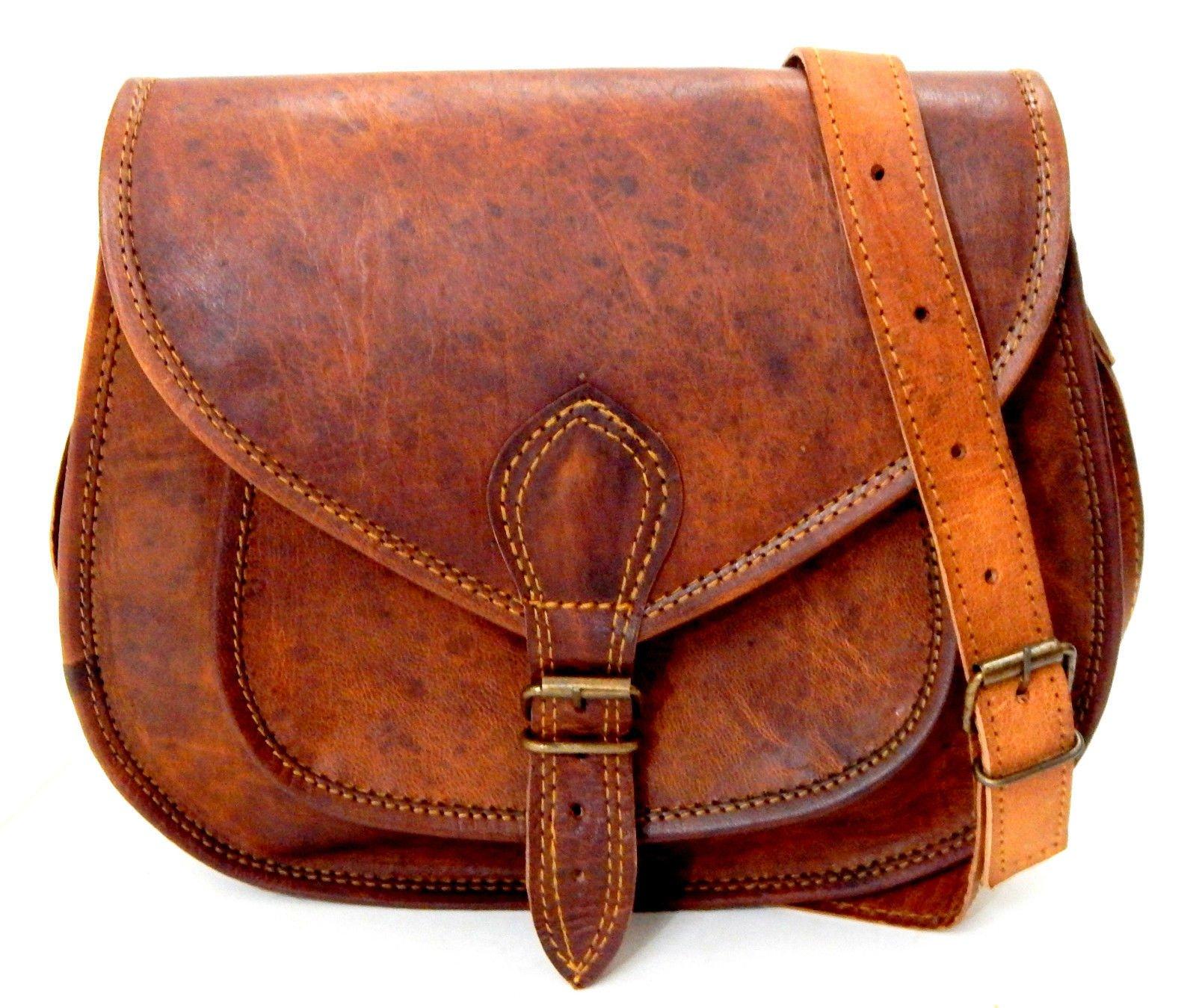 Firu-Handmade Women Vintage Rustic Retro Style Genuine Brown Leather Cross body Shoulder Bag Tote Satchel Bag Handmade Purse
