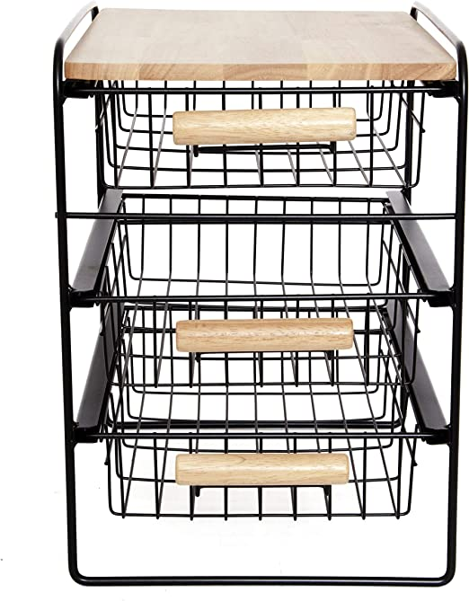 Origami 4-Drawer Cart with Wood Shelf - 8090500 | HSN | 669x522