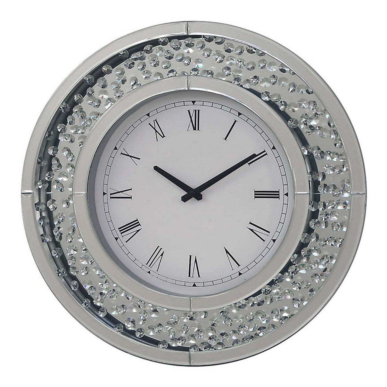 rhombus round mirrored glass crystals wall clock time display quartz home decor amazoncouk kitchen home - Mirrored Wall Clock