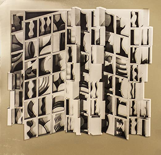 """Gold LOUISE NEVELSON Fragments 13/"""" x 13.5/"""" Foil Print 1974 Contemporary Brown"""