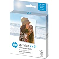 """HP Sprocket 2x3"""" Premium Zink Sticky Back Photo Paper (100 Sheets) Compatible with HP Sprocket Photo Printers"""