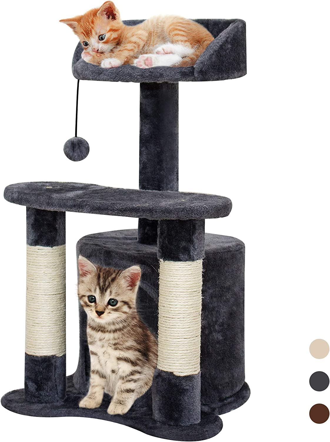XJD Cat Tree Tower Cat Furniture Scratching Post Climber House Cat Play Tower Grey, A