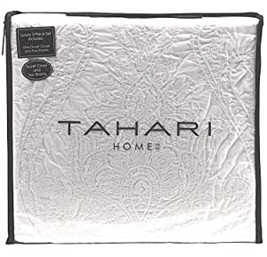 Tahari Home 100% Cotton Quilted Floral Damask 3pc Full Queen Duvet Cover Set Textured Stitching Embroidered Medallions (White, King)