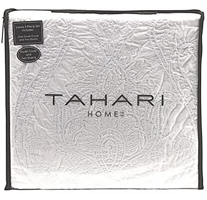 Tahari Home 100% Cotton Quilted Floral Damask 3pc Full Queen Duvet Cover  Set Textured Stitching