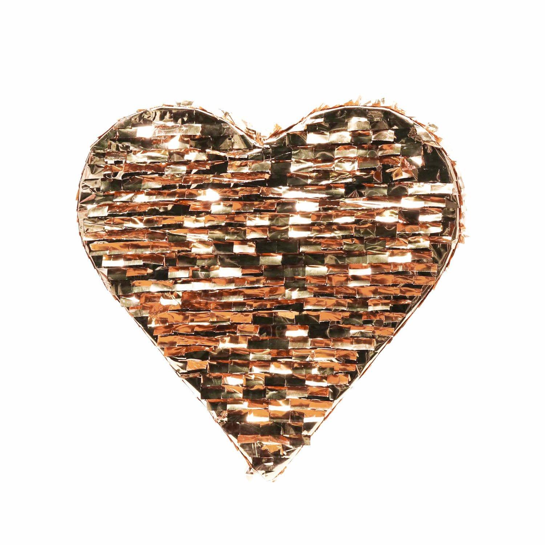 Andaz Press Rose Gold Champagne Copper Foil Fringe Pinata, 18-inch, Heart, 1-Pack