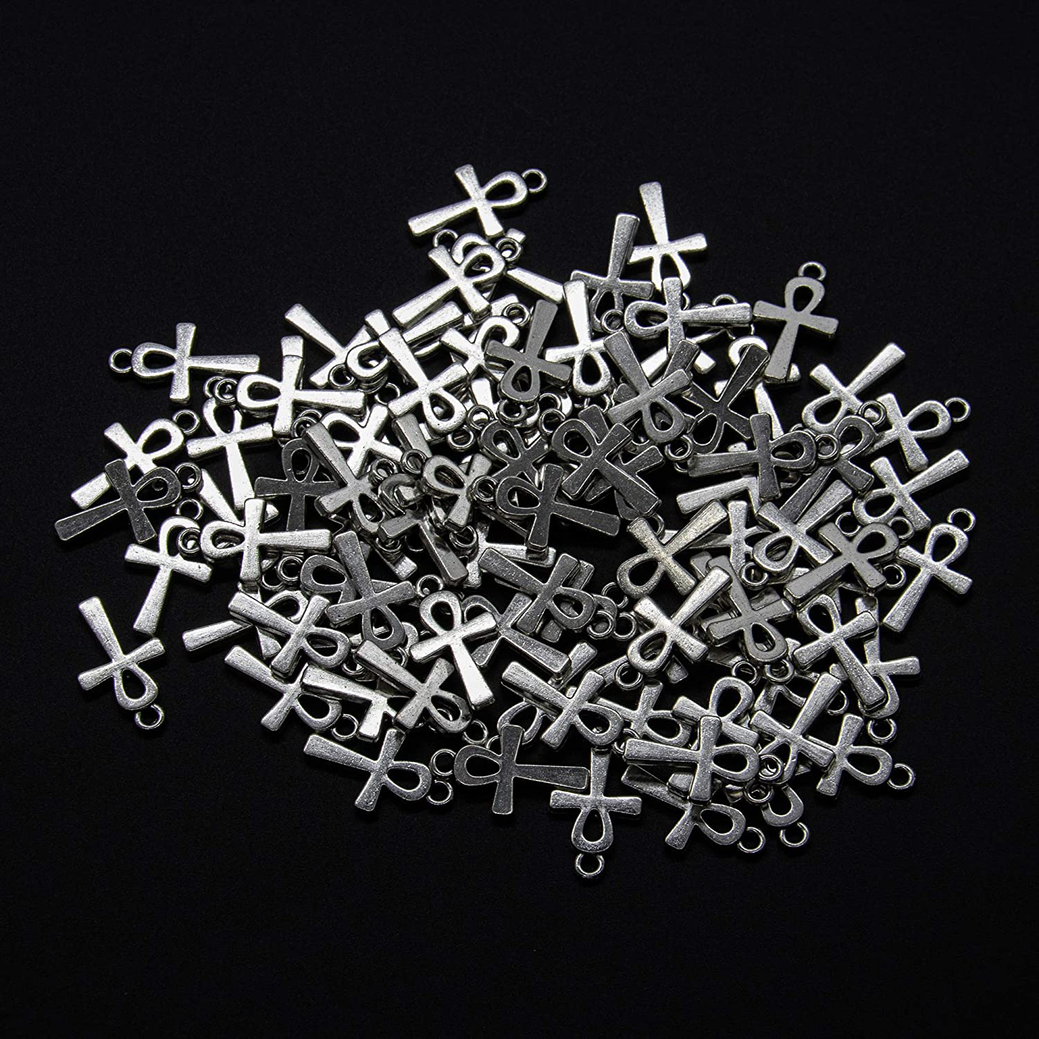 100 Pieces Antique Egyptian Pandant Creative Cross Charms for Bracelet Necklace Jewelry Making AUEAR Bronze