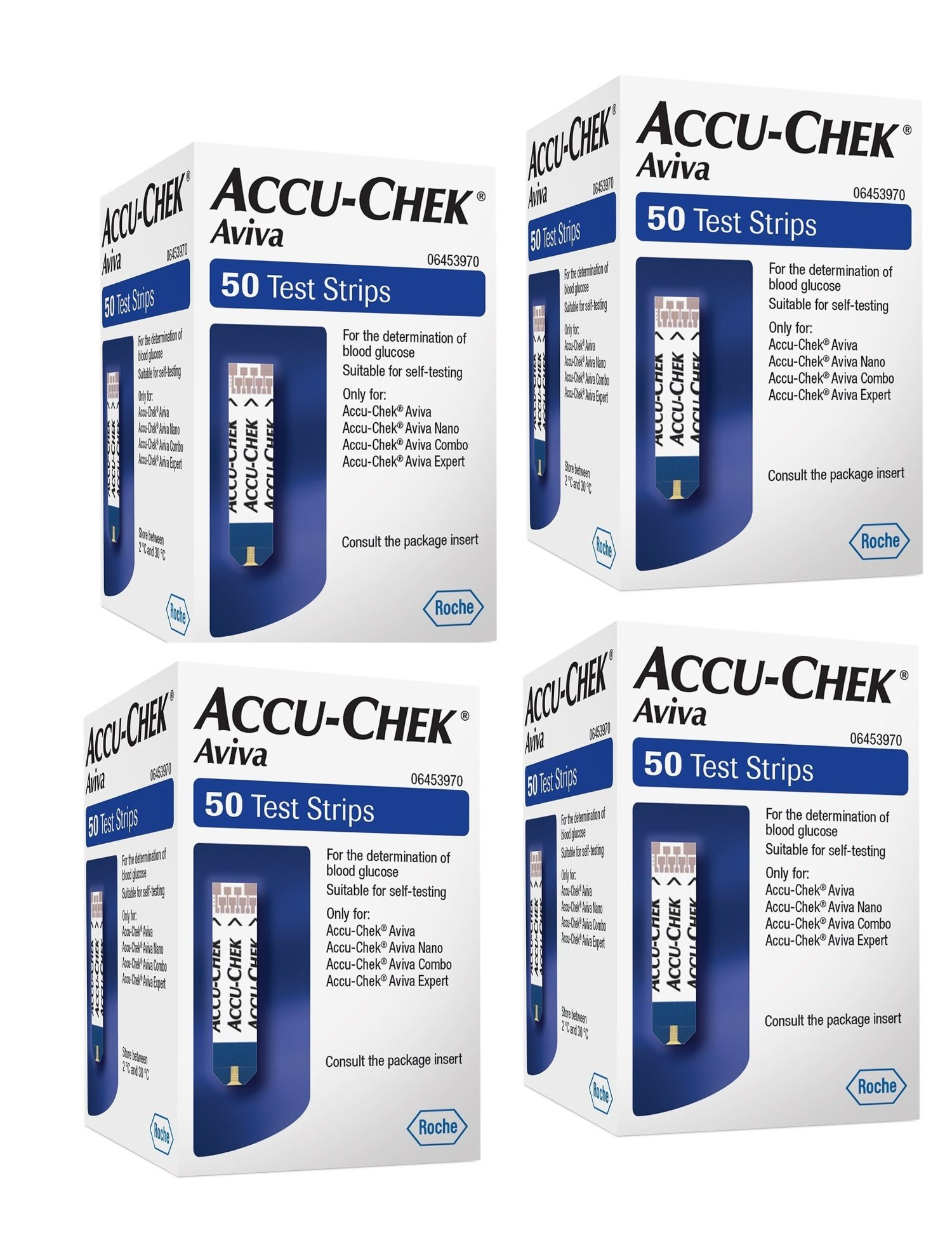 Accu-check Aviva Test Strips 50 - pack of 4