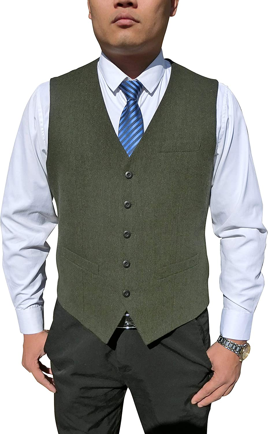 Anlyimeg Men's 5 Button Wool Blend Tweed Herringbone Full Back Vest