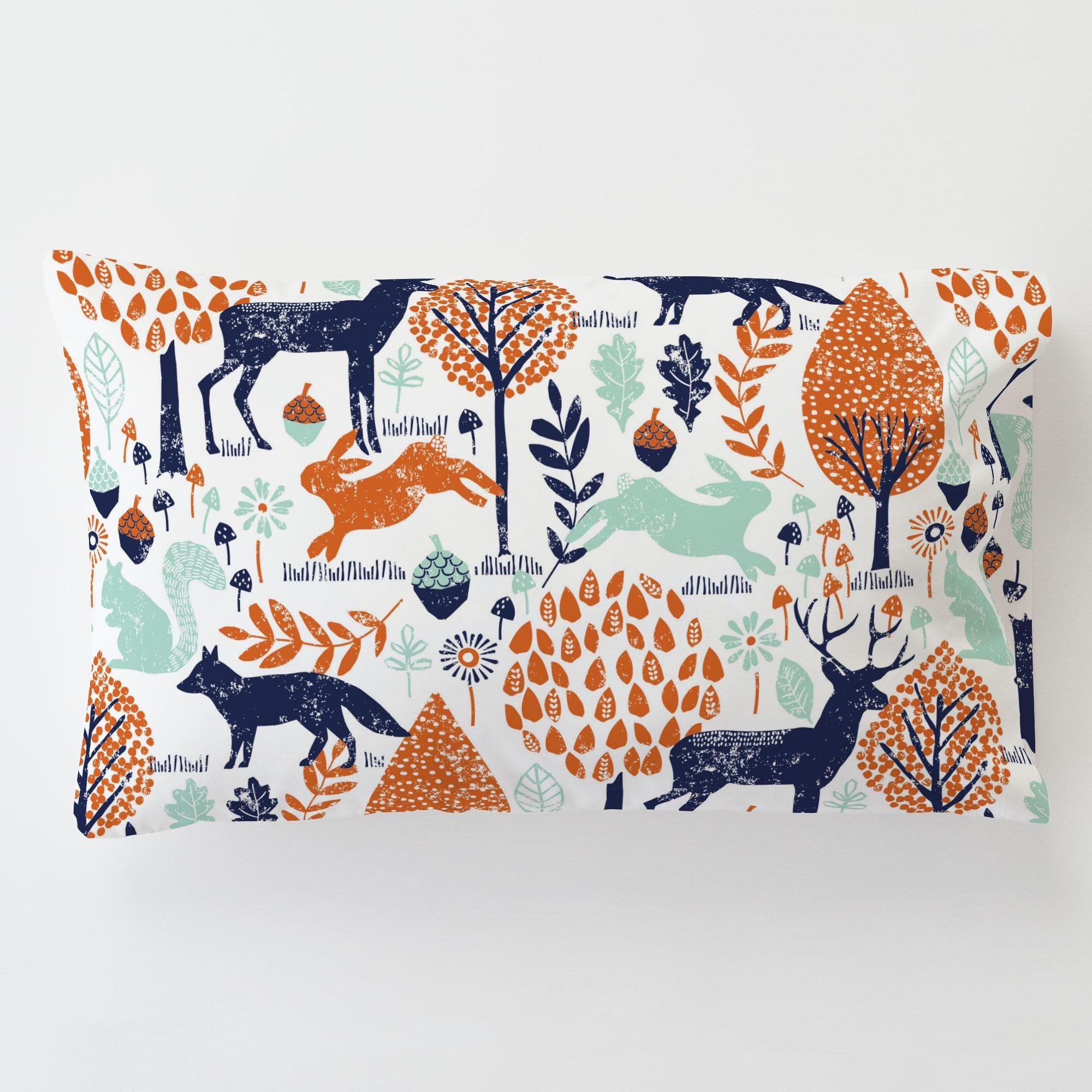 Carousel Designs Navy and Orange Woodland Animals Toddler Bed Pillow Case with Pillow by Carousel Designs