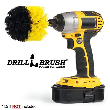 Power Drill Brush All Purpose Drill Scrub Brush for Bathroom Surface Kitchen Tub Grout Shower Auto,Boat Replace Brush Clean Tool,Yellow