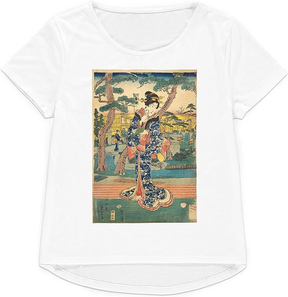 Strand Clothing Ukiyo-e Art Hiroshige Geisha - Camiseta Japonesa para Mujer y Hombre con Estampado gráfico Blanco X-Small: Amazon.es: Ropa y accesorios