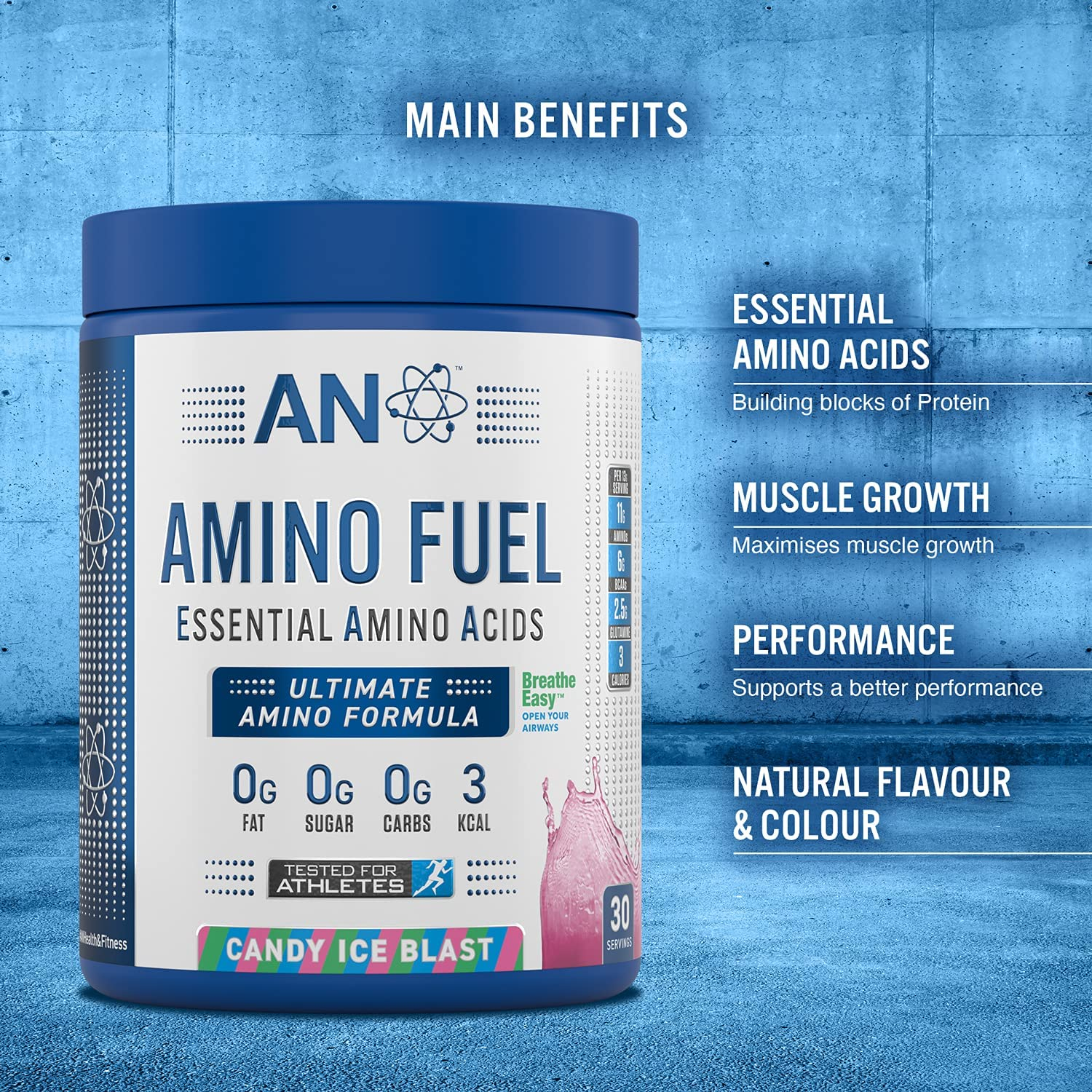 Applied Nutrition Amino Fuel - Essential Amino Acid (EAA) Powder Supplement Maximize Muscle Growth, 11g of Aminos Per Serving with BCAA's 390g - 30 Servings (ICY Blue Raz) : Amazon.co.uk: Health &