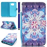 FESELE Samsung Galaxy S7 Edge Case Samsung Galaxy S7 Edge Cover Painted with Colorful Patterns PU Leather Case Book Style Magnetic Closure PU Leather Wallet Elegant Classic Flip Cover Case Card Slot and Banknotes Pocket with Hand Strap For Samsung Galaxy S7 Edge + 1 x Blue Stylus Pen-Flower