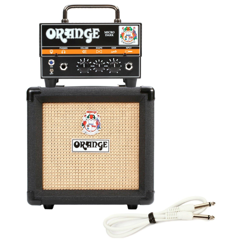 Orange Micro Dark Terror Hybrid Amp Head Mini Stack Combo w/ Cabinet and Speaker Cable by Orange
