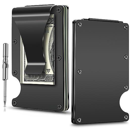31947ab27fc0 Minimalist Carbon Fibre Wallet, EliveBuy Slim Wallet & RFID Blocking Front  Pocket Wallet,Metal Wallet-Gifts for Men and Women