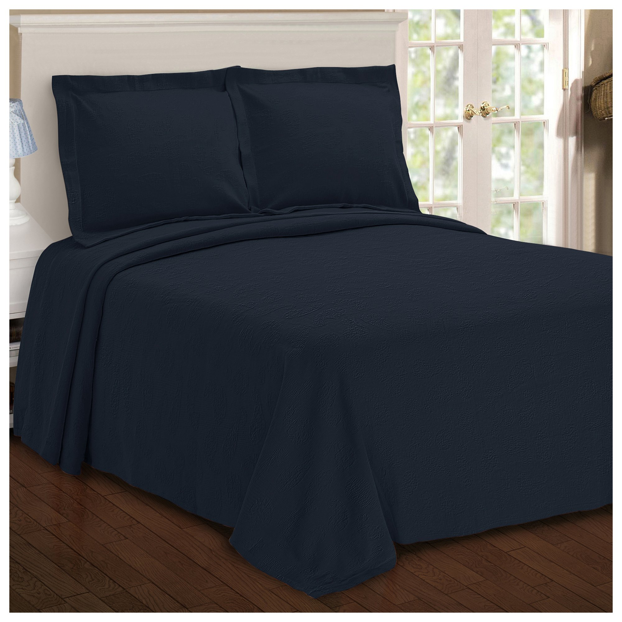 Superior Paisley Jacquard Matelassé 100% Premium Cotton Bedspread with Matching Shams, Queen, Navy Blue by Superior