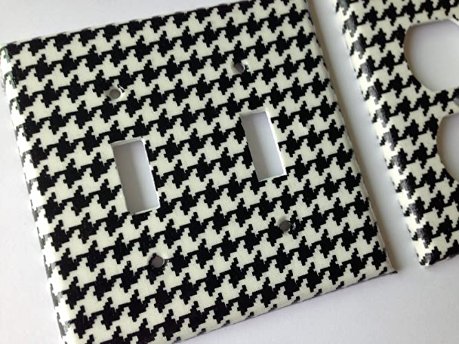Black And White Houndstooth Light Switch Plate Cover - Various Size Switchplates Offered & Amazon.com: Black And White Houndstooth Light Switch Plate Cover ...
