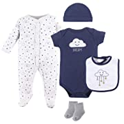 Hudson Baby Baby Multi Piece Clothing Set, Navy Clouds 5, 0-3 Months (3M)