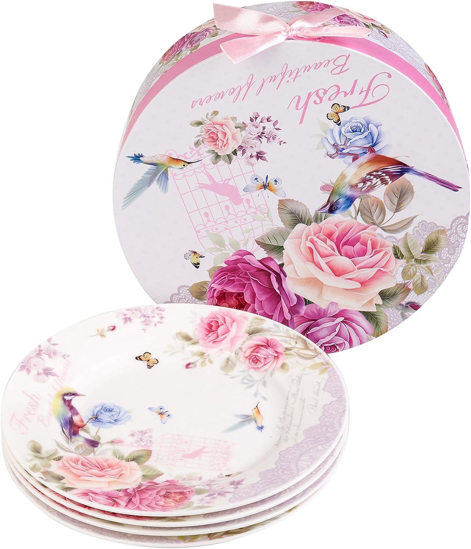 """Plato de postre de porcelana fina China lateral para tartas, Rose Bird Butterfly, 8"""" 20cm"""