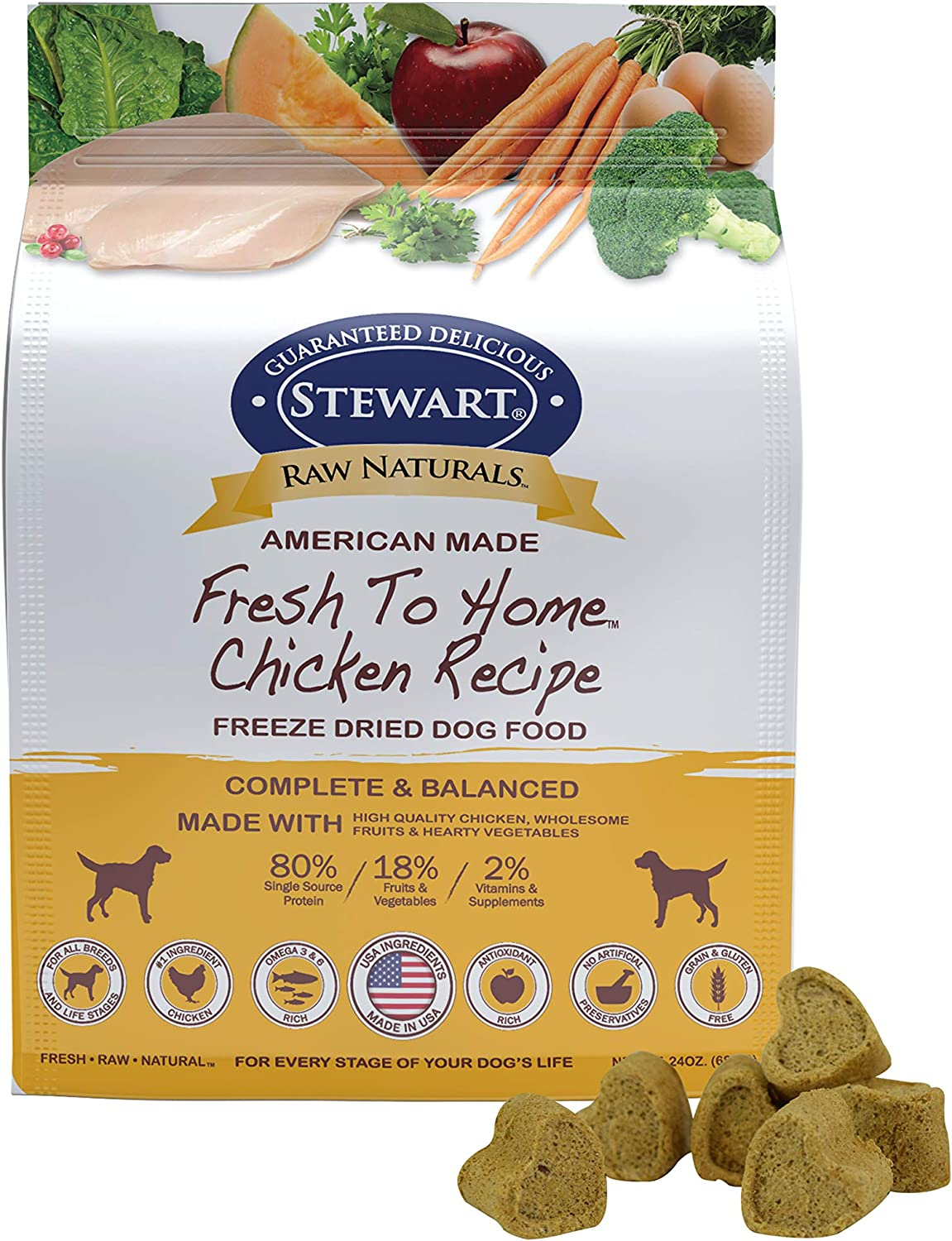 Stewart Raw Naturals Freeze Dried Dog Food Grain Free Made In Usa With Chicken Fruits Vegetables For Fresh To Home All Natural Recipe 24 Oz Pet Supplies