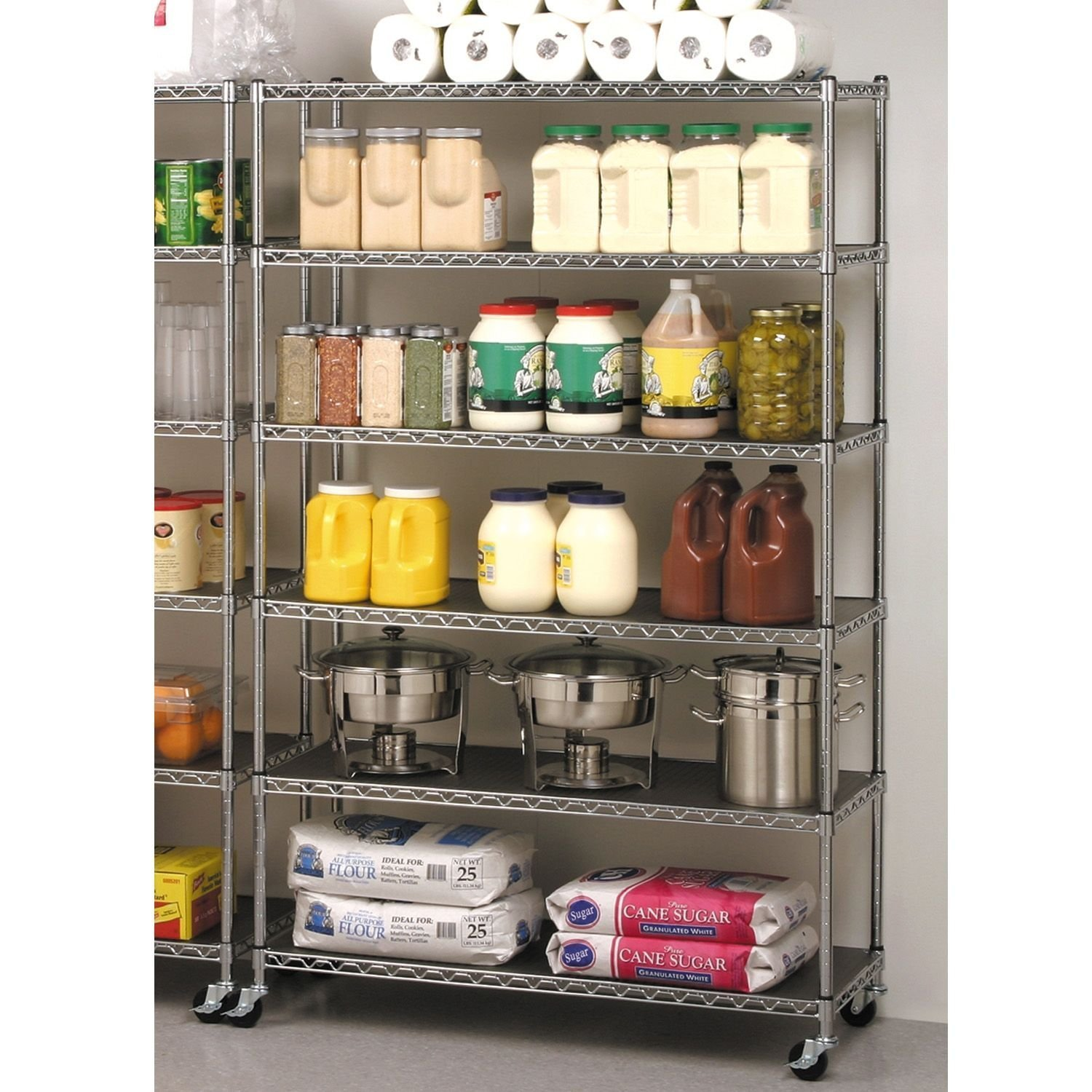 Com Storage Shelving Unit Cover Fits Racks 48 Wx24 Dx72 H Only Grey Color Home Kitchen