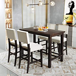 LZ LEISURE ZONE 5-Piece Counter Height Dining Set, Kitchen Table Set Wood Table and Chair Sets for Home Restaurant