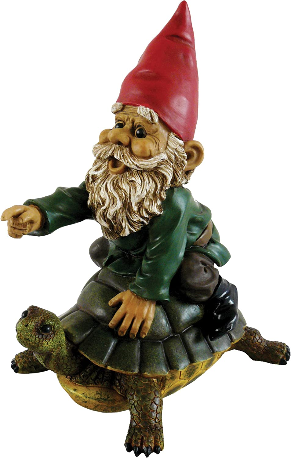 Garrold Gnome on a Turtle by Michael Carr Designs - Outdoor Gnome and Turtle Figurine for gardens, patios and lawns (80036)