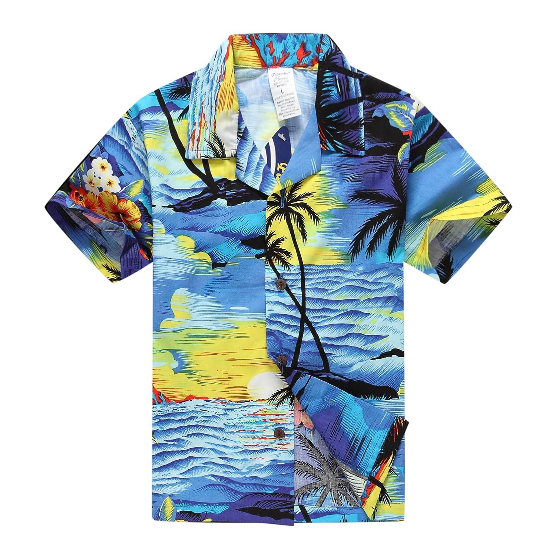 Boy Hawaiian Aloha Luau Shirt and Shorts 2 Piece Cabana Set in Blue Sunset Palm Wave 049102