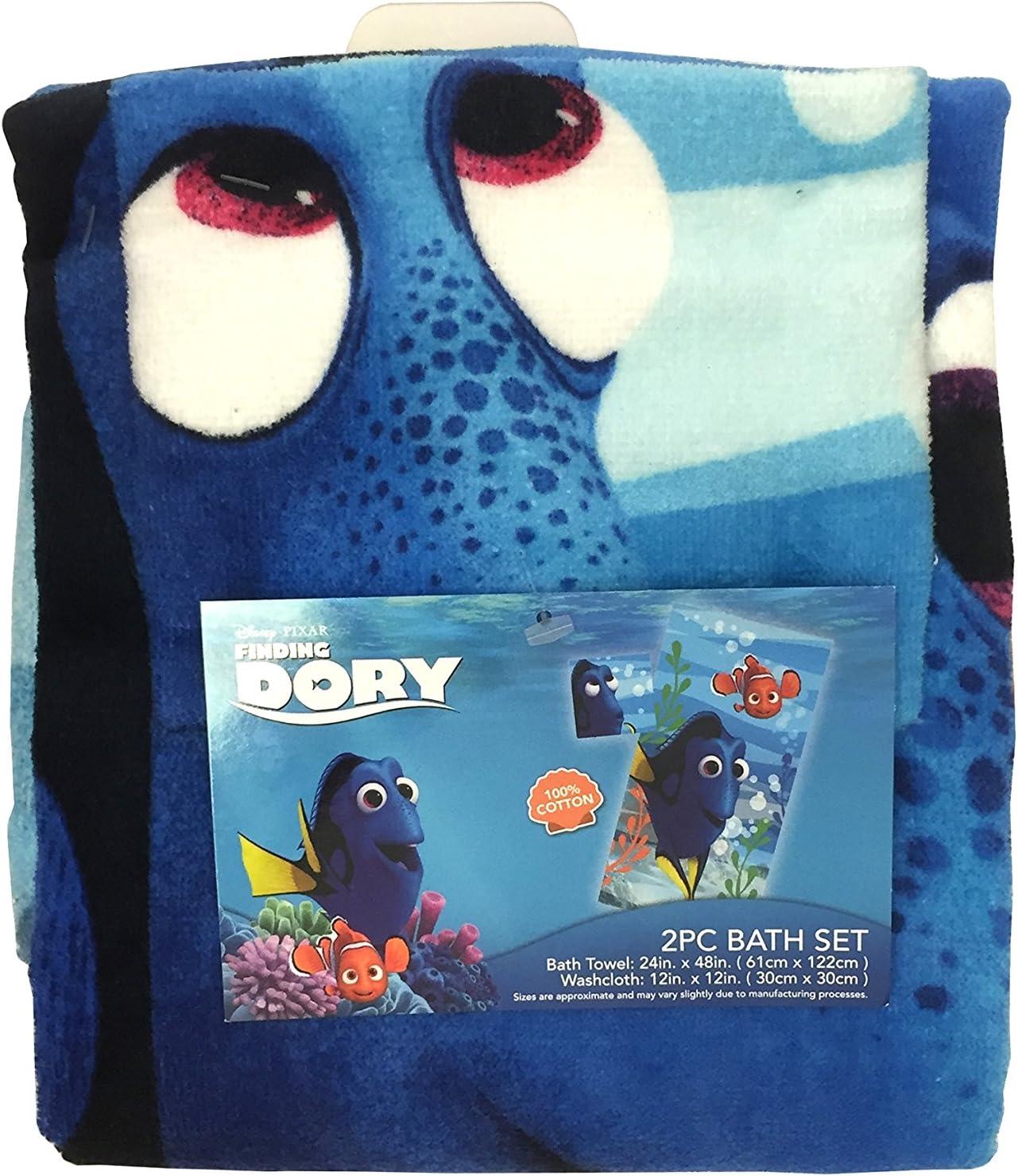 Disney Finding Dory 3 Piece Beach Travel Bath Towels Set 100/% Cotton