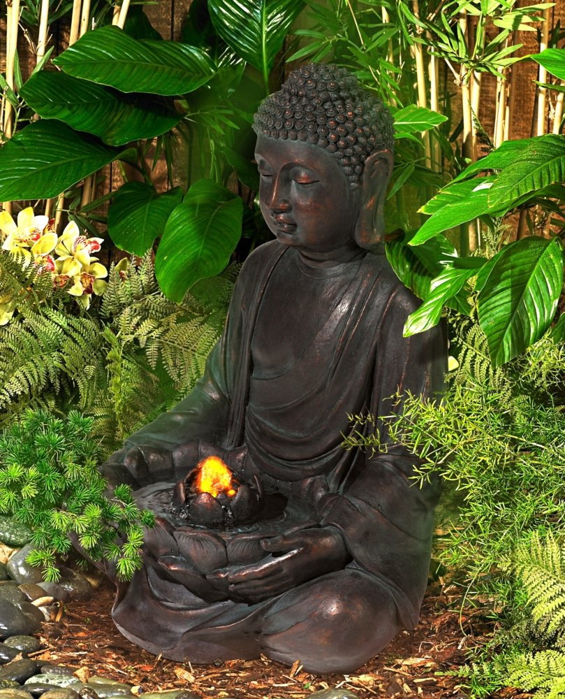 Amazon.com : Meditating Aged Bronze Buddha LED Indoor/Outdoor Fountain :  Free Standing Garden Fountains : Garden U0026 Outdoor