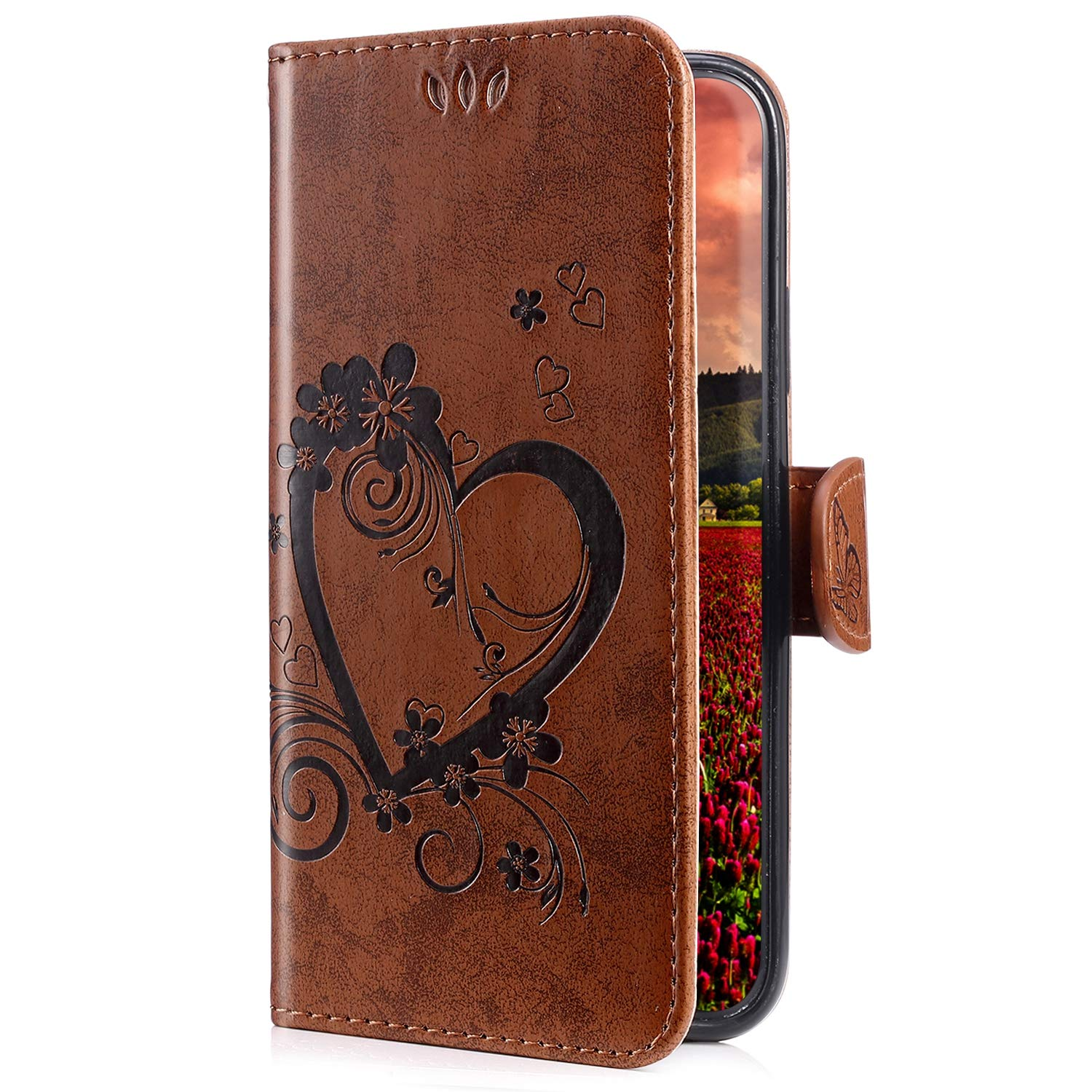 Uposao Compatible with Samsung Galaxy Note 9 Leather Case, Luxury Butterfly Heart Flower Pattern Leather Wallet Flip Protective Phone Case Book Case Cover with Stand,White PYHT010035