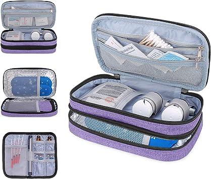 Luxja Bolsa Insulina Diabética, bolsa diabético, Doble capa Bolsa insulina para glucómetro, plumas de insulina y otros suministros para diabéticos (solo bolsa), Púrpura: Amazon.es: Salud y cuidado personal