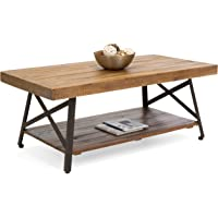 Deals on Wooden Coffee Accent Table w/ Metal Legs Bottom Shelf