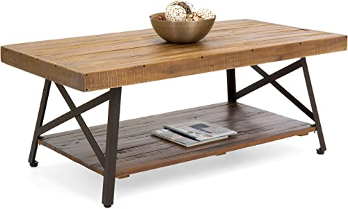 Choice Products Living Room Acacia Rustic Wooden Cocktail Coffee Accent Table Decor w/Sturdy Metal Legs