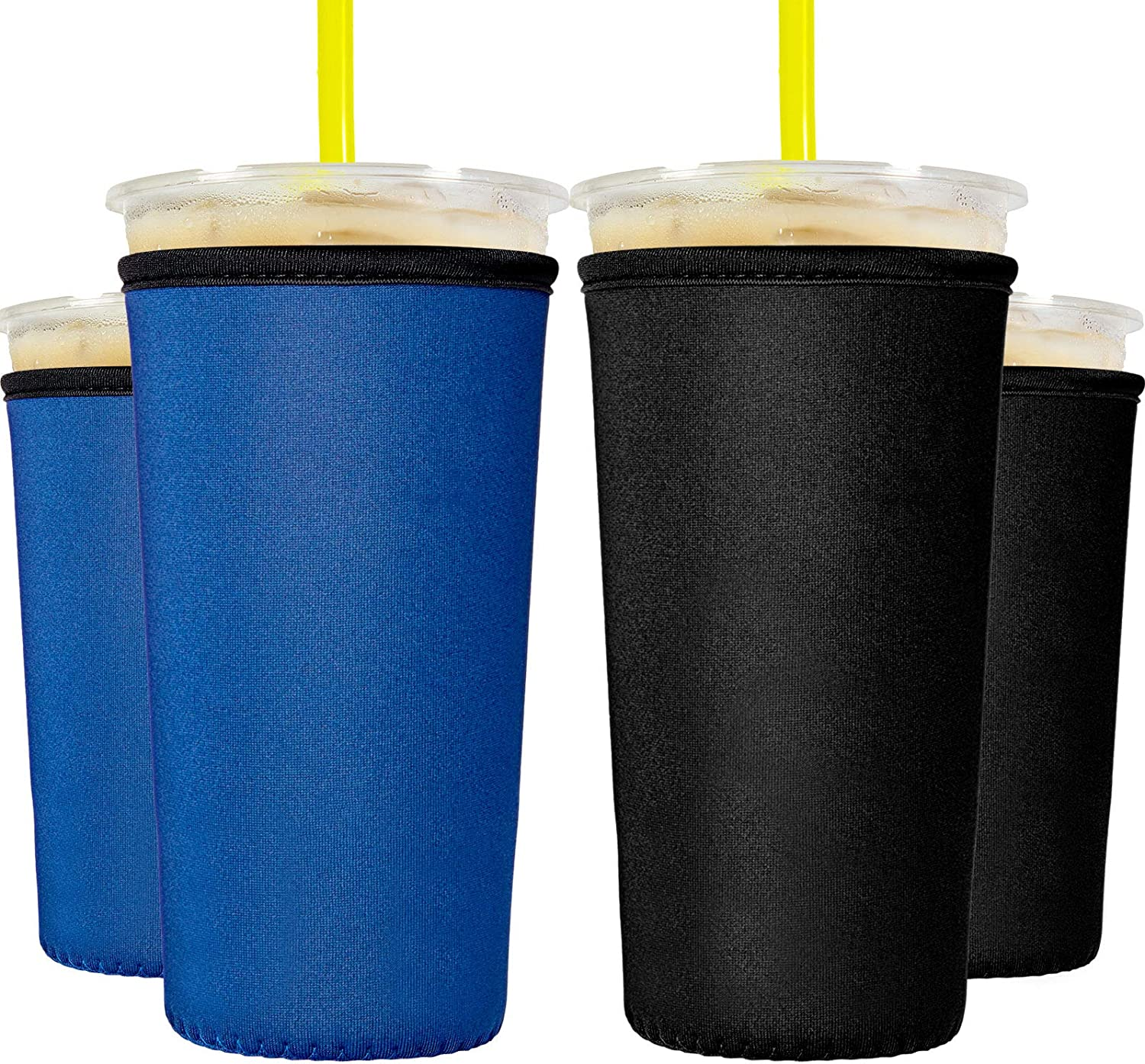 8 Pieces Reusable Iced Coffee Cup Sleeve Neoprene Cup Cover Drink Insulator Sleeves 2 Sizes Insulated Sleeves Drinks Holder for 22 oz to 32 oz Cold Hot Drink Beverages Cup Bottle (Black and Blue)