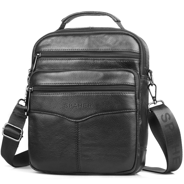 613257d5a1d SPAHER Men Leather Handbag Shoulder Bag IPAD Business Messenger Backpack  Crossbody Casual Tote Sling Travel Bag with Top-handle and Adjustable  Removable ...