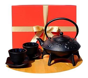 Caja de regalo - Tazas de tetera de hierro fundido negro con diseño de flores - tetera de tetera de tetersubina, remache y tazas SQC X2: Amazon.es: Hogar